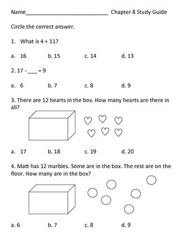 Math in Focus 1st Grade (chapter 8) study guide
