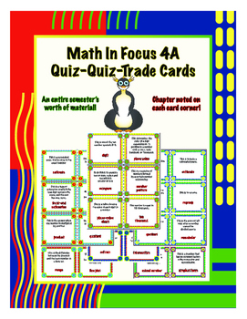 Fourth Grade Math in Focus 4A Vocabulary Quiz-Quiz-Trade Cards