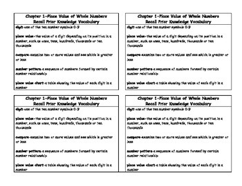 Math in Focus 4th Grade Vocabulary Card Chapter 1 Recall Prior Knowledge