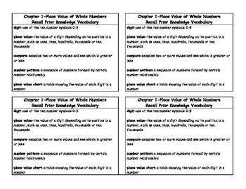 Math in Focus 4th Grade Vocabulary Cards Chapter 1