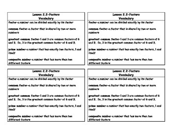 Math in Focus 4th Grade Vocabulary Cards Chapter 2