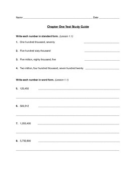 Math in Focus 5A Chapter 1 Test Study Guide