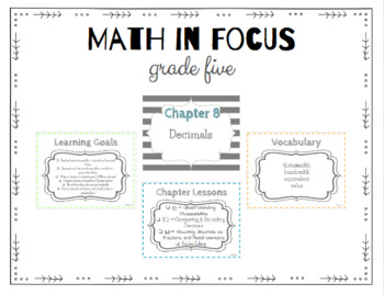 Math in Focus 5th Grade Focus Wall (Chapters 1-15)