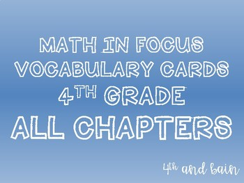 Math in Focus ALL VOCABULARY Grade 4 Bundle