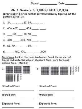 2nd Grade Math In Focus Chapter 1 Assessment By Brittany Miracle
