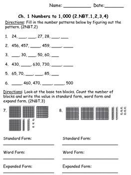 2nd Grade Math in Focus Chapter 1 Assessment