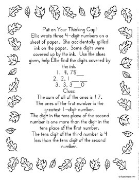 Math in Focus Chapter 1 Centers:  Place Value 3rd grade