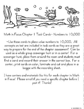 Math in Focus Chapter 1 Task Cards 3rd Grade w/ Answer Key!
