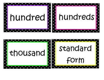 Math in Focus Chapter 1 Word Wall Words (Black & White Polka Dot Theme)
