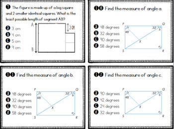 Math in Focus Chapter 11 Review: Properties of Squares and Rectangles Scoot Game