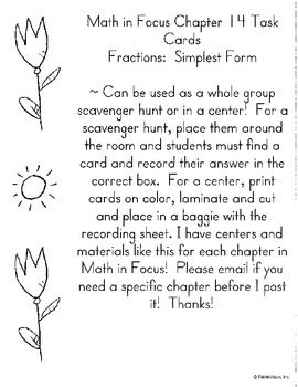 Math in Focus Chapter 14 Task Cards Fractions:  Simplest Form- 3rd grade