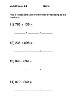 Math in Focus Chapter 2 Lesson 4 Common Assessment