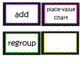 Math in Focus Chapter 2 Word Wall Words (Black & White Polka Dot Theme)