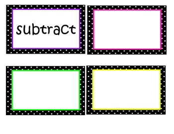 Math in Focus Chapter 3 Word Wall Words (Black & White Polka Dot Theme)
