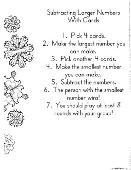 Math in Focus Chapter 4 3rd grade: Subtraction with up to 4 digits Centers