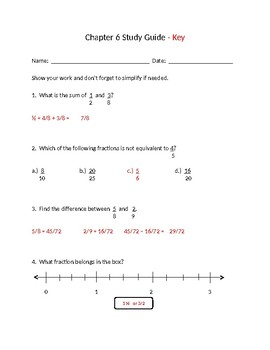 Math in Focus Chapter 6 Study Guide and Key