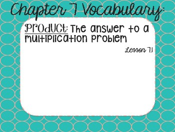 Math in Focus Vocabulary Cards 3rd Grade Chapter 7 (Multiplication)