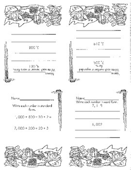 Math in Focus Chp 1 Enter/Exit Slips/Scoot Cards:  Numbers to 10, 000 3rd Grade