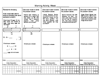 Math in Focus Daily Routines Bar modeling 4 Weeks