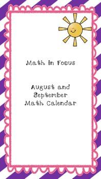 Math in Focus: Every Day Counts Calendar Math for August/September