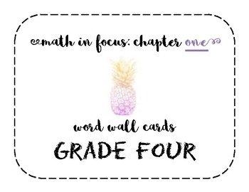 Math in Focus Grade 4 Vocabulary/Word Wall Cards (Chapter 1)