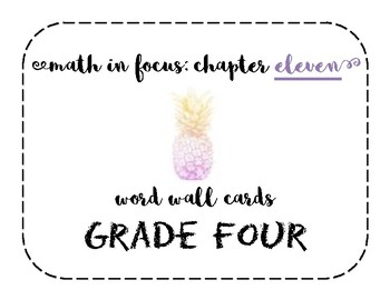 Math in Focus Grade 4 Vocabulary/Word Wall Cards (Chapter 11)