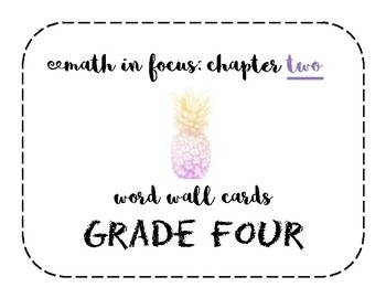 Math in Focus Grade 4 Vocabulary/Word Wall Cards (Chapter 2)
