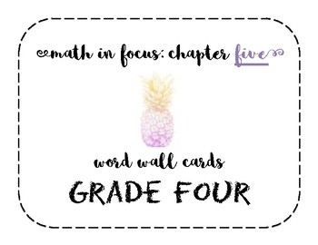 Math in Focus Grade 4 Vocabulary/Word Wall Cards (Chapter 5)