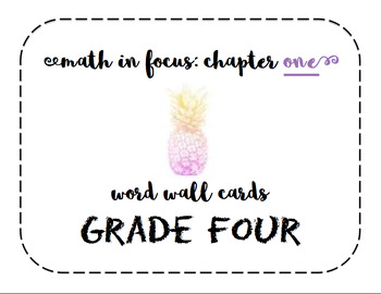 Math in Focus Grade 4 Vocabulary/Word Wall Cards (Chapters 1-14)