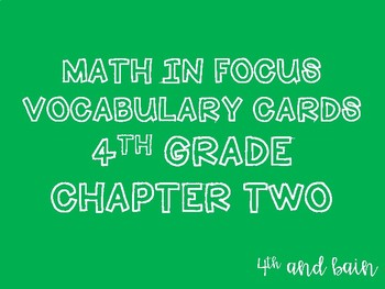 Math in Focus Vocabulary 4th Grade Chapter 2