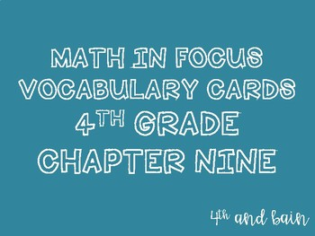 Math in Focus Vocabulary 4th Grade Chapter 9