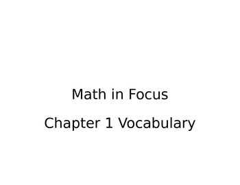 Math in Focus Vocabulary Cards