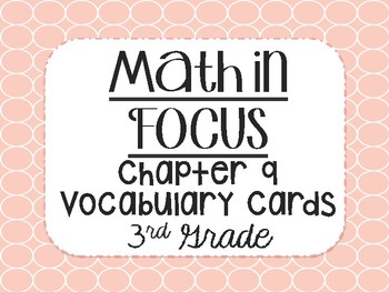 """""""Math in Focus"""" Vocabulary Cards 3rd Grade Chapter 9 (Bar Models)"""