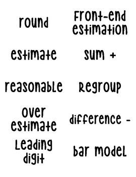 Math in Focus Vocabulary Words - Grade 3