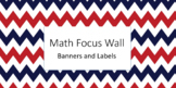 Math in Focus Wall Banner and Labels: Red and Navy Chevron
