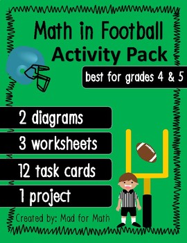 Math in Football Activity Pack for grades 4 & 5 worksheets, task cards, project