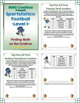 Football Math-Level I Bundle (Sportstistics, Read the Room & Fantasy Football)