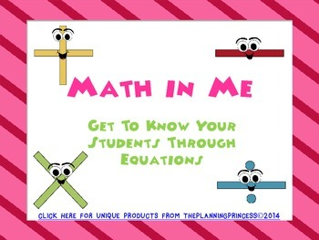 """""""Math in Me"""" Back to School Math Activity or All About Me Open House Activity"""