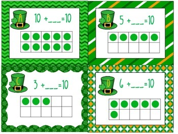 Math in Motion-I am Lucky I can Add to 10! Find missing Addend-recording sheet