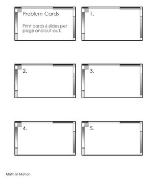 Math in Motion - Problem Card Template