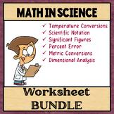 Math in Science Worksheet Bundle
