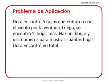 Math in Spanish Eureka Grade 1 Module 1 Lesson 1