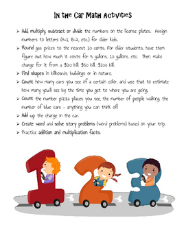Math in the Car/ Actividades de matematicas in el auto