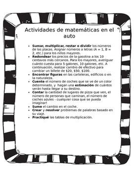 Math in the Car/ Actividades de matematicas in el auto (black&white)