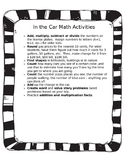 Math in the Car/ Actividades de matematicas in el auto (bl