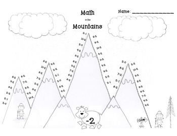 Math in the Mountains Basic Subtraction Fact Practice Set