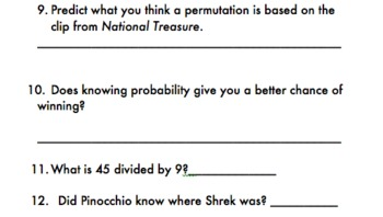 Math in the Movies Worksheet
