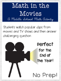 Math in the Movies for Middle School ~ End of Year Activity