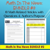 Math in the News Bundle #3:  10 Math Related Articles with Questions--Sub Plans