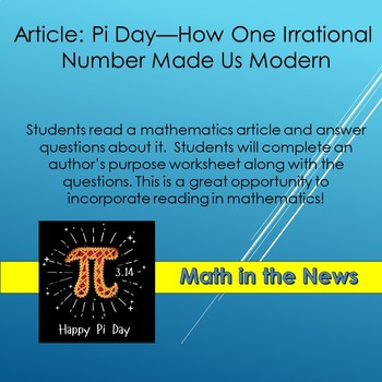 Math in the News: Pi Day-How One Number Made Us Modern--Sub Plans